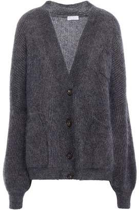 Brunello Cucinelli Metallic Brushed Ribbed-knit Cardigan