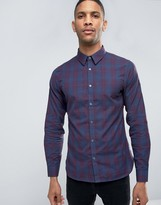 French Connection Burgundy Check Slim Fit Shirt