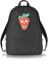 Paul Smith Men's Black Canvas Backpack w/Strawberry Skull Leather Patch