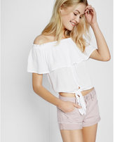 Express distressed flip hem shorts