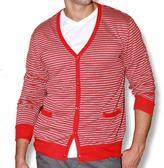 191 Unlimited Men's Red Stripe Cardigan Sweater