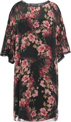 Alberta Ferretti Guipure Lace-trimmed Floral-print Silk-voile Mini Dress
