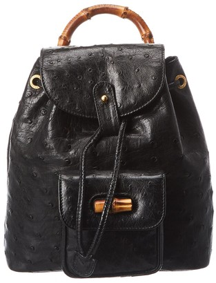 Gucci Black Ostrich Leather Small Bamboo Backpack