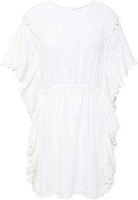 IRO Serenity Lace-trimmed Ruffled Cotton Mini Dress