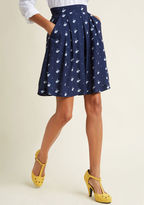 Louche Upbeat and Empowered A-Line Skirt in Swan in 16 (UK) - Short Length by from ModCloth