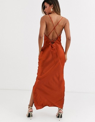 ASOS DESIGN cami maxi slip dress in high shine satin with lace up back