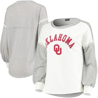 Women's White Oklahoma Sooners Line It Up Striped Bubble Long Sleeve T-Shirt