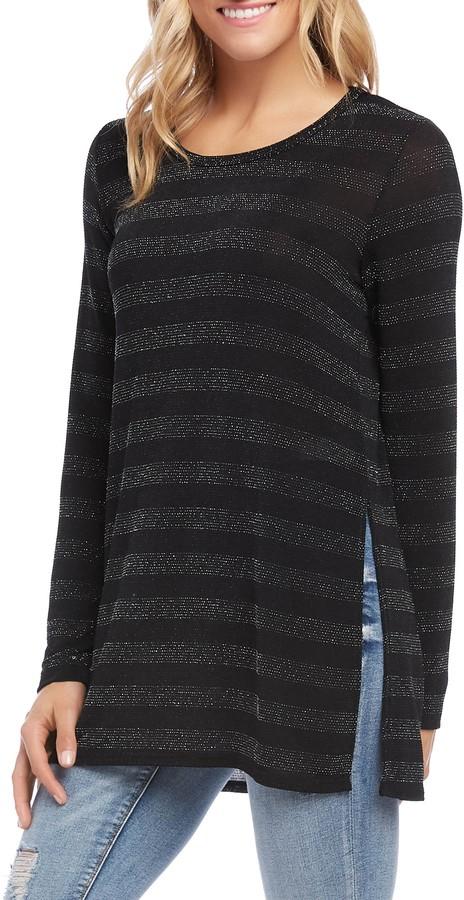 Karen Kane Stripe Sparkle Knit Top