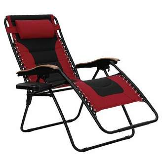 Zero Gravity Oversized Padded Reclining Chair with Cushion PHI VILLA Cushion Color: Red