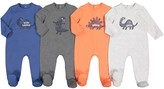 La Redoute Collections Pack of 4 Cotton Sleepsuits with Dinosaur Print, Birth-3 Years