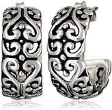 Barse Sterling Silver Ornate Scroll Hoop Earrings