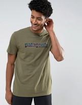 Patagonia 73 Text Logo T-shirt Regular Fit In Green Marl