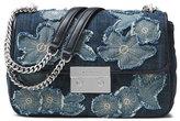MICHAEL Michael Kors Sloan Large Floral Denim Shoulder Bag, Indigo