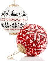 Holiday Lane Set of 2 Knit Ball Ornaments