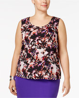 Kasper Plus Size Printed Shell