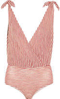 Nanushka - Paloma Striped Linen-blend Jersey Bodysuit - Red