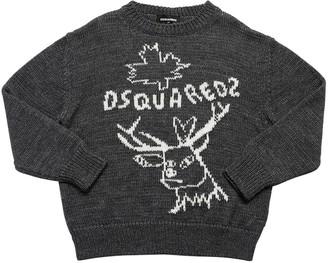 DSQUARED2 Deer Wool & Alpaca Knit Blend Sweater