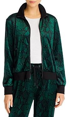 Pam & Gela Snake Print Velour Track Jacket