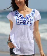 White & Blue Floral Embroidered Shift Dress