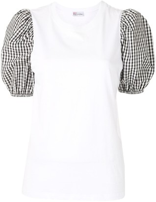 RED Valentino Gingham Puff Sleeve T-Shirt
