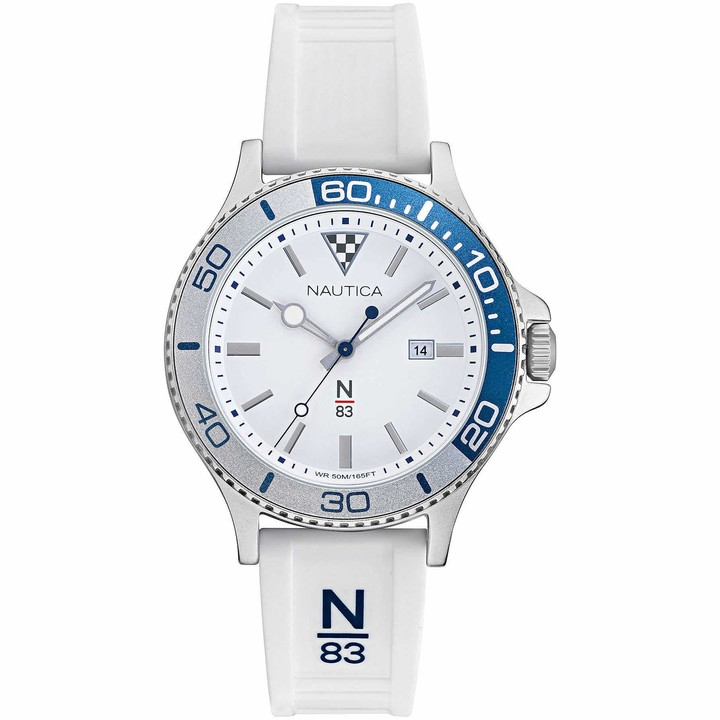 Nautica Men's Accra Beach Brass Plated Stainless Steel Quartz Silicone Strap