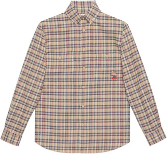Gucci Check cotton shirt with cat patch