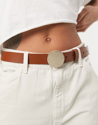 ASOS DESIGN leather waist and hip jeans belt with disc buckle in beige