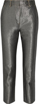 KÉJI Cropped metallic high-rise slim-leg jeans