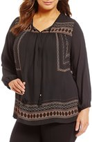 Gibson & Latimer Plus Long Sleeve Border Printed Blouse