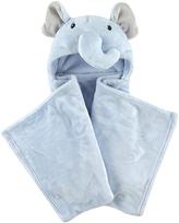 Hudson Baby Blue Elephant Hooded Plush Blanket