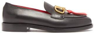 Valentino V Logo Tasselled Leather Loafers - Womens - Black Red