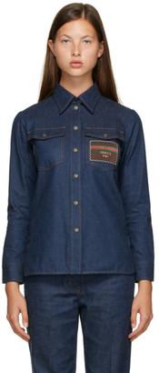 Gucci Blue Denim Logo Patch Shirt