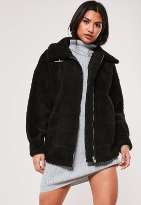 Missguided Black Ultimate Oversized Faux Fur Aviator Jacket