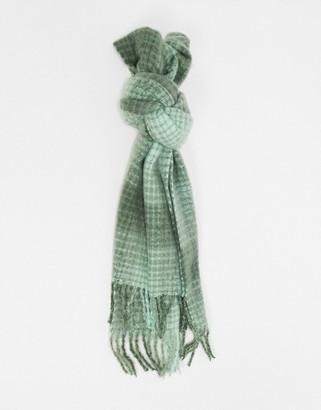 ASOS DESIGN long fluffy check scarf in tonal green