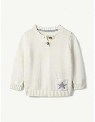The Little White Company Star-intarsia cotton jumper 0-24 months