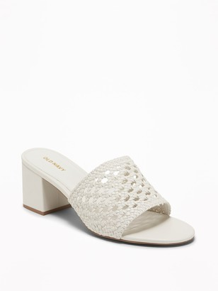 Old Navy Basket-Weave Faux-Leather Block-Heel Mules for Women