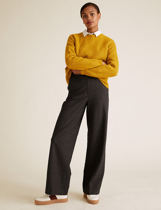 Marks and Spencer Checked Wide Leg High Waisted Trousers