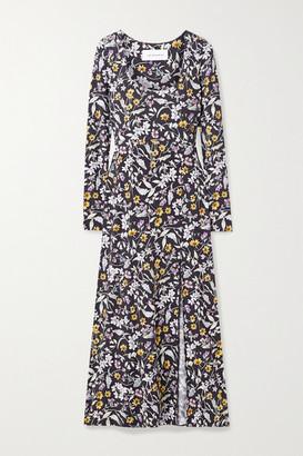 Les Rêveries Floral-print Stretch-modal Midi Dress - Black