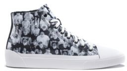 HUGO BOSS High Top Sneakers With Crowd Scene Graphics - Light Grey