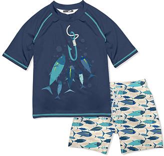 Millie & Maxx Boys' Board Shorts Fish - Dusty Navy & Ecru Fish & Hook Short-Sleeve Rashguard Set - Toddler & Boys