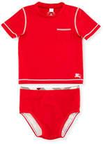 Burberry Crosby Short-Sleeve Rashguard Swimsuit, Cherry, Size 6M-3