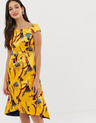 Closet London Closet gold bardot high low dress-Yellow