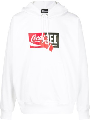 Diesel Recycled fabric hoodie with double logo print