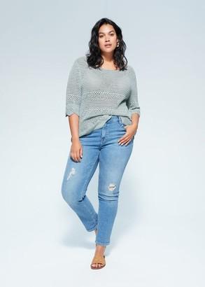 MANGO Violeta BY Openwork cotton sweater aqua green - S - Plus sizes