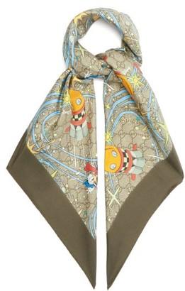 Gucci X Disney Donald Duck-print Silk-twill Scarf - Multi