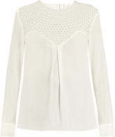 A.L.C. Crochet-panel long-sleeved crepe top