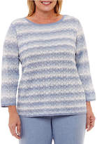 Alfred Dunner Silver Belles 3/4 Sleeve Textured Pullover Sweater-Plus