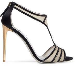 Giorgio Armani Crystal-embellished Satin-trimmed Mesh Sandals