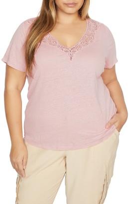 Sanctuary Virginie Lace Trim Linen T-Shirt (Plus Size)