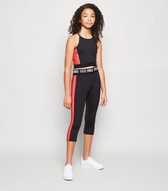 New Look Girls Good Vibes Slogan Sports Leggings